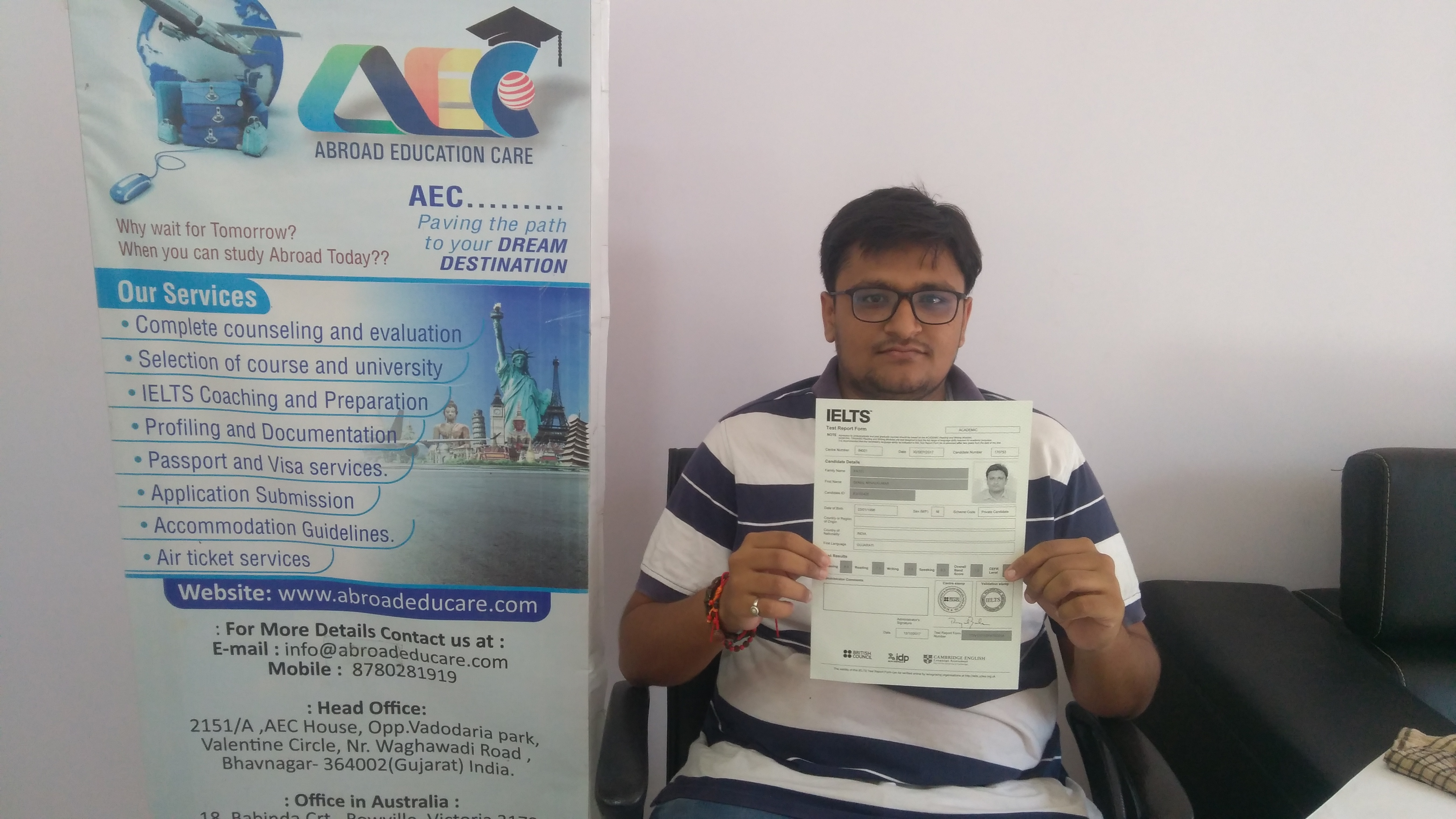Our student Mr. Semal Patel has recently secured 7.0 BAND in IELTS.